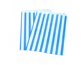 """100 Pink Stripe White Paper Sulphite Bags for Food Use 10/"""" x 14/"""""""