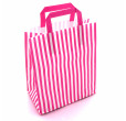 Pink Striped Carrier Bags Tape Handle